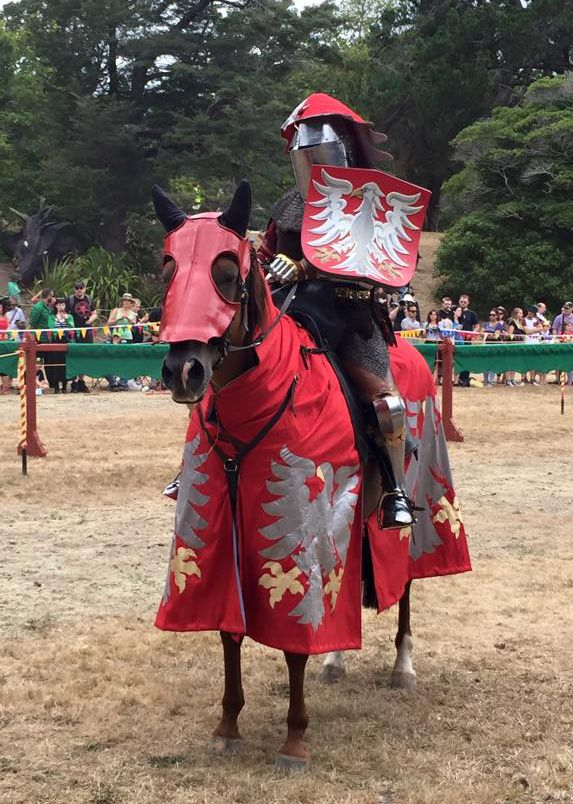 A medieval knight in full armour on a horse